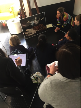 NGV Educator, Rosemary Etherton, facilitating group discussion with students. Image: Aimee Board